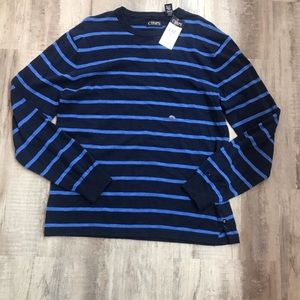 Chaps Blue Stripe Crew Neck Sweater Shirt Large